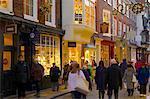 Shops on Stonegate at Christmas, York, Yorkshire, England, United Kingdom, Europe