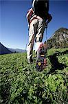 hiker on mountain meadow