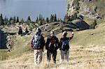 three hiker at Bachalpsee, Nebelhorn