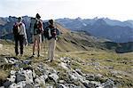 three hiker at Nebelhorn, Allgäu Alps