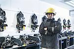 Firefighter standing in training room