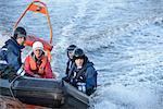 Rescue boat training in open water