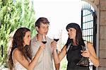 Couple tasting wine in doorway