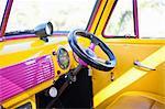 Steering wheel of colorful car