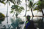 Scuba diver admiring tropical water