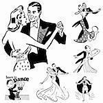 Vector Retro Ballroom Dancing Graphics. Great for any vintage or retro design.