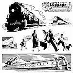 Vector Retro Train Graphics. Great for any vintage or retro design.