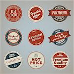 Set of vector vintage styled premium quality badges