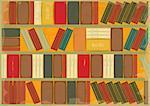 Book Background Retro Style - Bookcase. Vector Illustration.