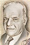 Hayim Nahman Bialik (1873-1934) on 10 Lirot 1968 Banknote from Israel. Jewish poet.