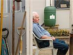 A senior man taking a break