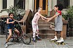 Kids on sidewalk