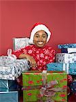 Girl with christmas presents