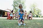 Boys playing at family gathering