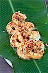 South America, Brazil, Paraty, Costa Verde, Green Coast,, chile pepper shrimp with tropical fruit risotto at Le Gite DIndaiatiba pousada and restaurant, set in the Atlantic Coastal rainforest in Grauna near Paraty