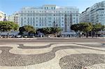 Copacabana Palace Hotel, Avenida Atlantica, Copacabana Beach, the Copacabana Palace hotel and Avenida Atlantica with the black and white Portuguese paving on the sidewalk in the foreground