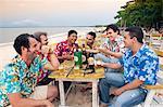 South America, Brazil, Para, Belem, the carimbo rock group La Pupuna on an island beach in the Brazilian Amazon