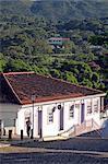 South America, Brazil, Goias, Pirenopolis, view of shops and Portuguese colonial houses on the Rua Nossa Senhora do Rosario in the mining town of Pirenopolis near Brasilia