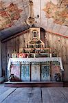 South America, Brazil, Goias, Pirenopolis, the altar in the 19th Century late baroque chapel of Nossa Senhora da Conceicao in the Fazenda Babilonia sugar mill near Pirenopolis.
