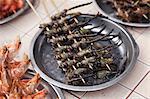 China, Yunnan, Jianshui. Fried dragonflies for sale in Jianshui.