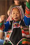 China, Yunnan, Xishuangbanna. An elderly lady of the Jinuo ethnic minority near Jinghong.