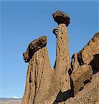 Man climbing up on Hoodoo, Balanced Rocks, Jefferson County, near Lake Billy Chinook, Culver, central Oregon, USA