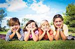 Portrait of cute children posing in the park