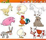 Cartoon Illustration Set of Comic Farm and Livestock Animals isolated on White
