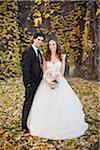 Portrait of Bride and Groom in Autumn, Toronto, Ontario, Canada