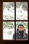 Teenage Girl Behind Door Looking In