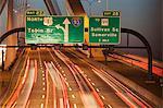 Traffic on a suspension bridge, Leonard P. Zakim Bunker Hill Bridge, Boston, Massachusetts, USA