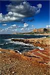 Italy, Sicily, Tyrrhenian Sea, view of the rocky coastline near San Vito Lo Capo, Province of Trapani