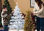 Couple decorating Christmas trees