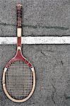 Tennis racket on court