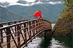 Woman with umbrella on wooden bridge