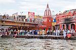 Devotees on ghat at River Ganges, Haridwar, Uttarakhand, India