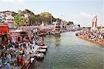 Crowd at Har Ki Pauri and Malviya Dwipa (island), River Ganges, Haridwar, Uttarakhand, India