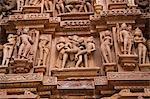 Details of erotic carvings at a temple, Lakshmana Temple, Khajuraho, Chhatarpur District, Madhya Pradesh, India