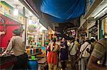 People at food stalls, Juhu Beach, Mumbai, Maharashtra, India