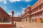 Courtyard of a palace, City Palace, Jaipur, Rajasthan, India