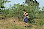 Hiker walking in a forest