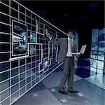 Businessman working on a virtual screen
