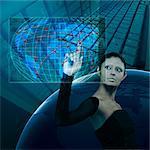 Businesswoman using a virtual screen