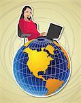 Female customer service representative with a globe