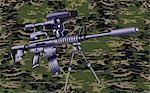 Machine gun on a camouflaged background