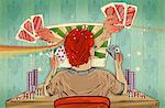 Man playing online poker