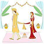 Newlywed couple at wedding ceremony