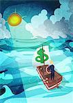 Businessman guiding a boat towards the shining sun during a rainstorm