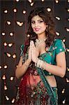 Woman greeting on Diwali
