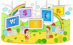 Illustration of currency symbols